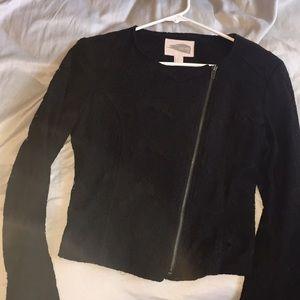 Black blazer cropped zip up